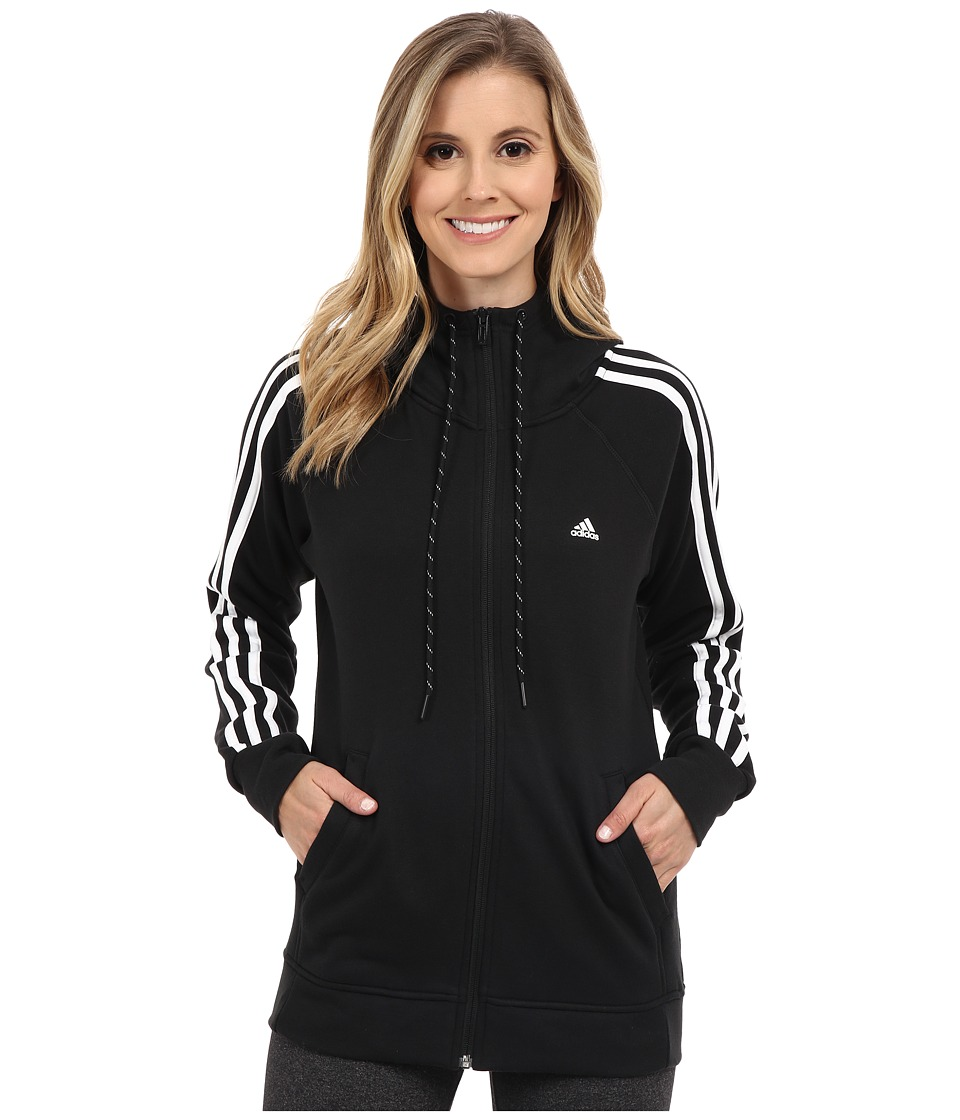 adidas - Essential 3S Hoodie (Black/White) Women's Sweatshirt
