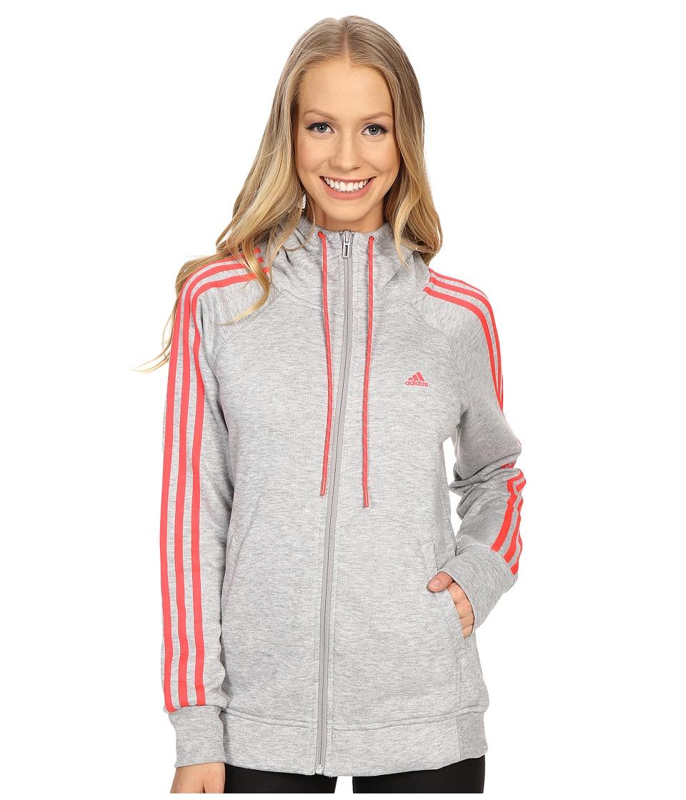 adidas - Essential 3S Hoodie (Medium Grey Heather/Shock Red) Women's Sweatshirt