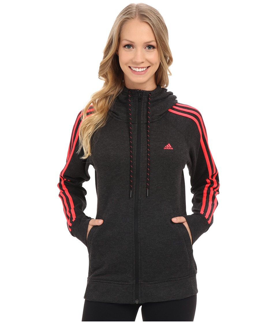 adidas - Essential 3S Hoodie (Black Melange/Shock Red) Women's Sweatshirt