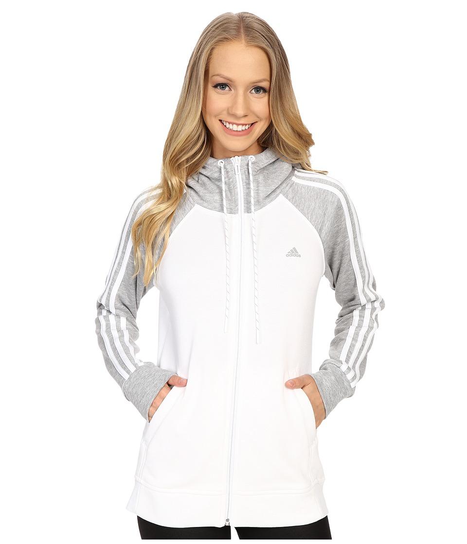 adidas - Essential 3S Hoodie (White/Medium Grey Heather/White) Women's Sweatshirt