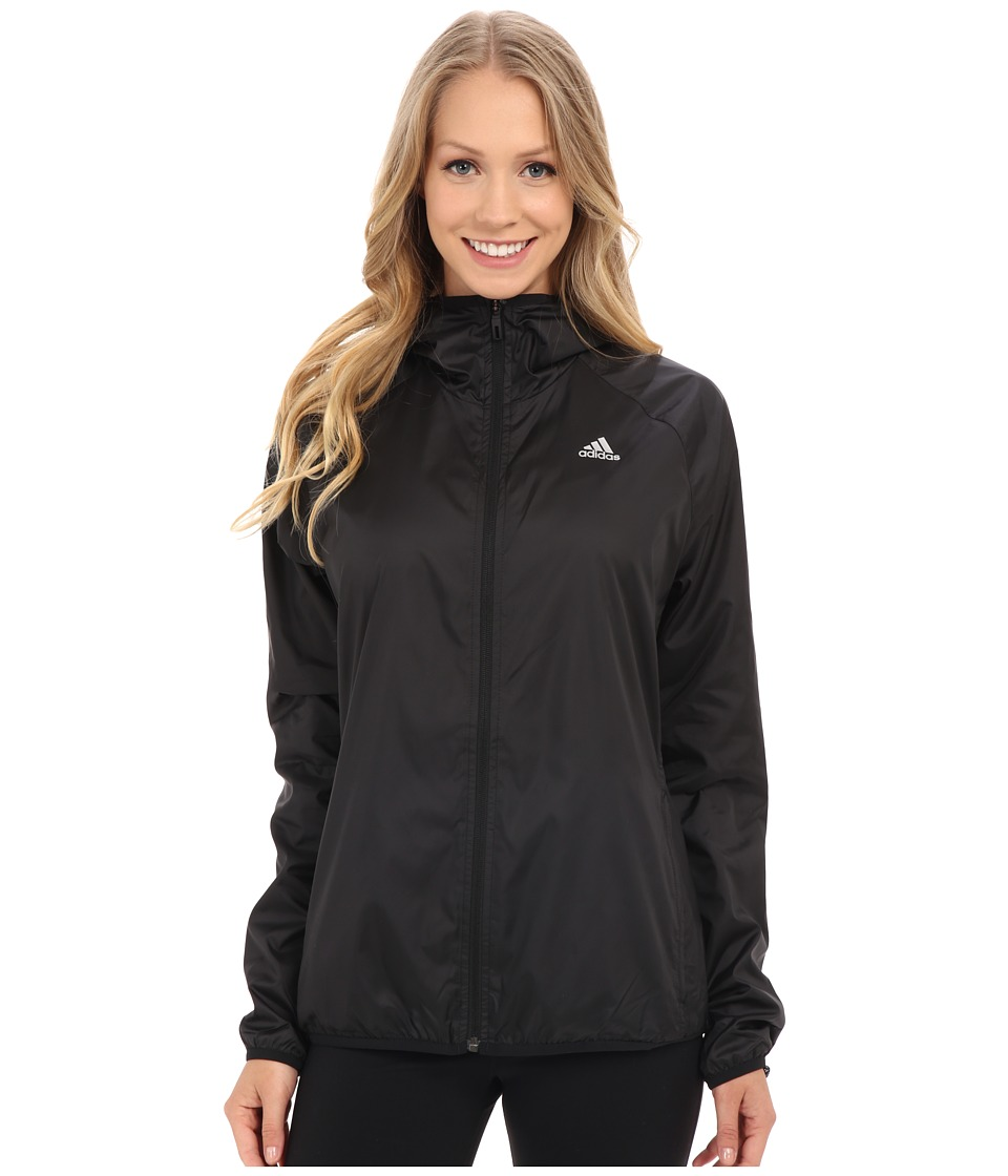 adidas - 3-Stripes Hooded Woven Jacket (Black/Matte Silver) Women's Coat
