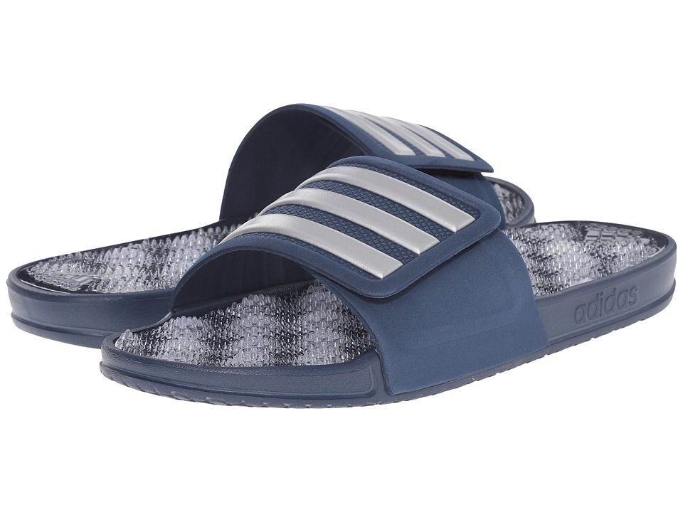 adidas - adissage 2.0 M Stripe (Mineral Blue/Matte Silver/Mineral Blue(Graphic)) Men's Slide Shoes