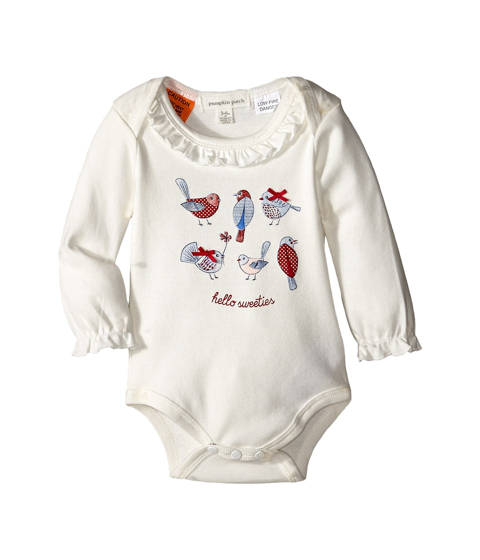 Pumpkin Patch Kids - Urban Folk Hello Birdies Bodysuit (Infant) (Vanilla) Girl's Jumpsuit & Rompers One Piece