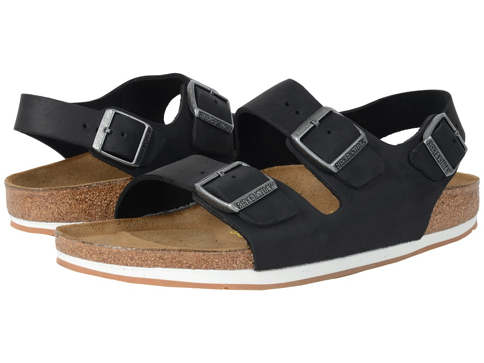 Birkenstock Milano Sport (Unisex) (Black Oiled Leather) Sandals
