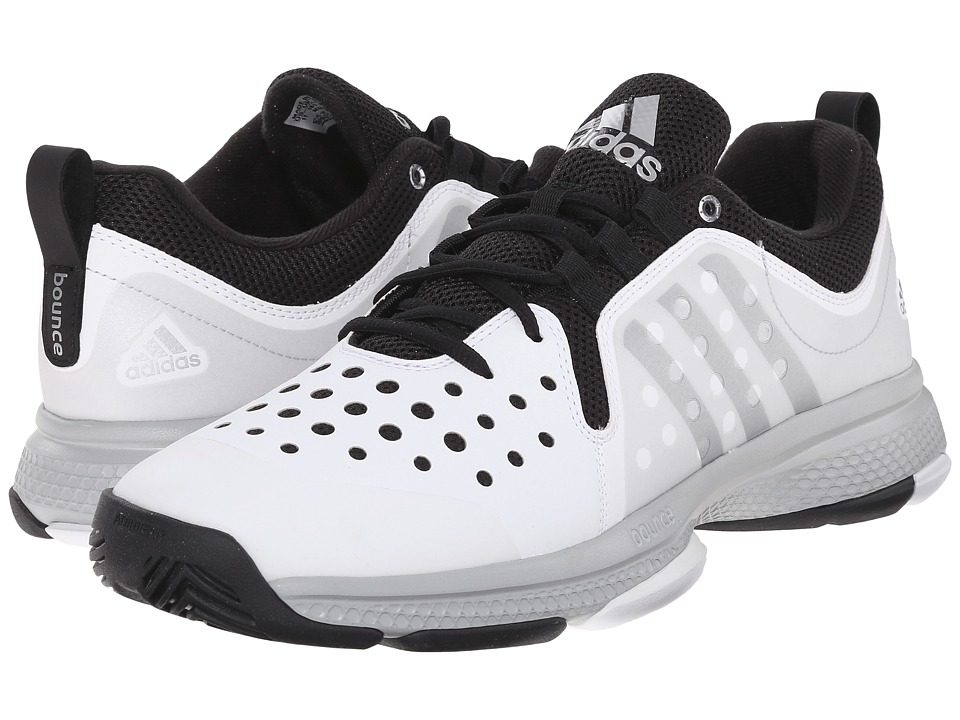adidas - Barricade Classic Bounce (White/Matte Silver/Black) Men's Tennis Shoes