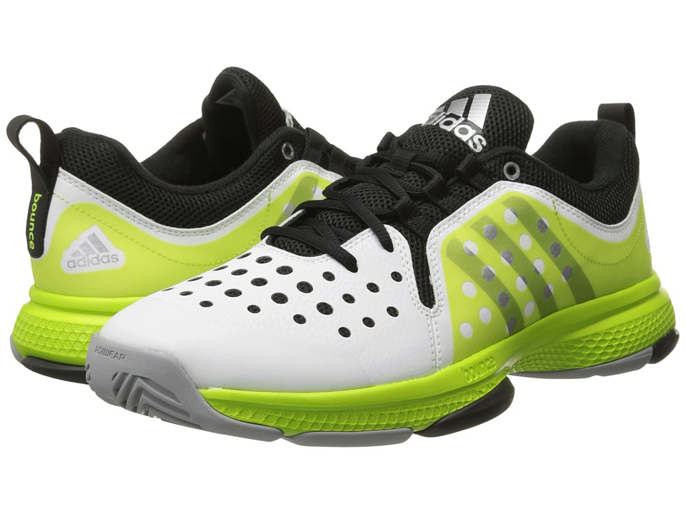 adidas - Barricade Classic Bounce (White/Black/Semi Solar Slime) Men's Tennis Shoes