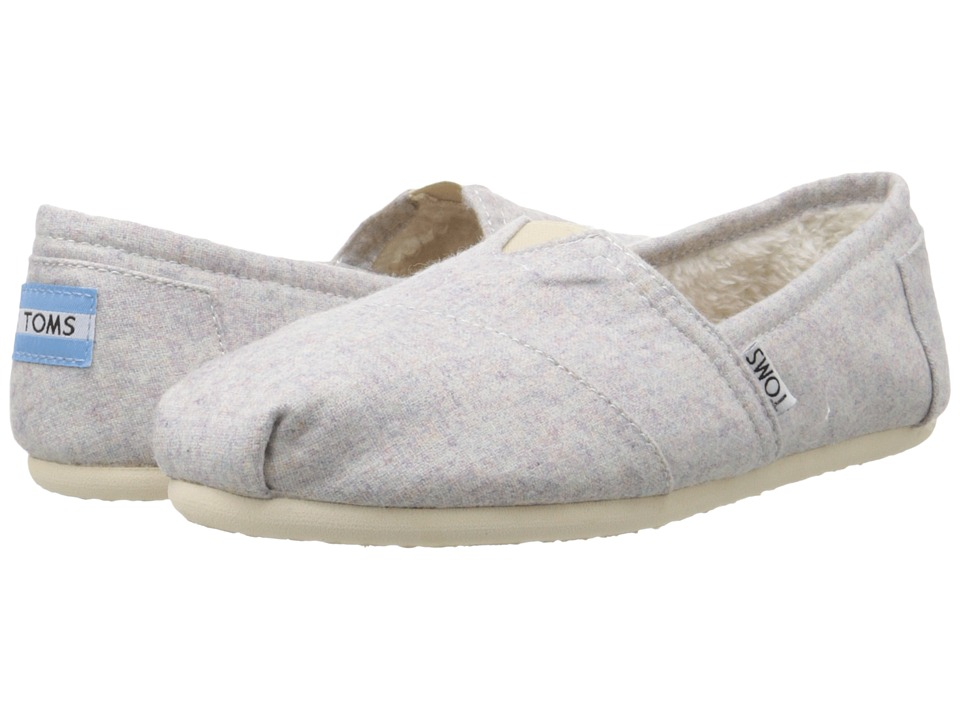 TOMS - Seasonal Classics (Light Grey Woolen) Women's Slip on Shoes