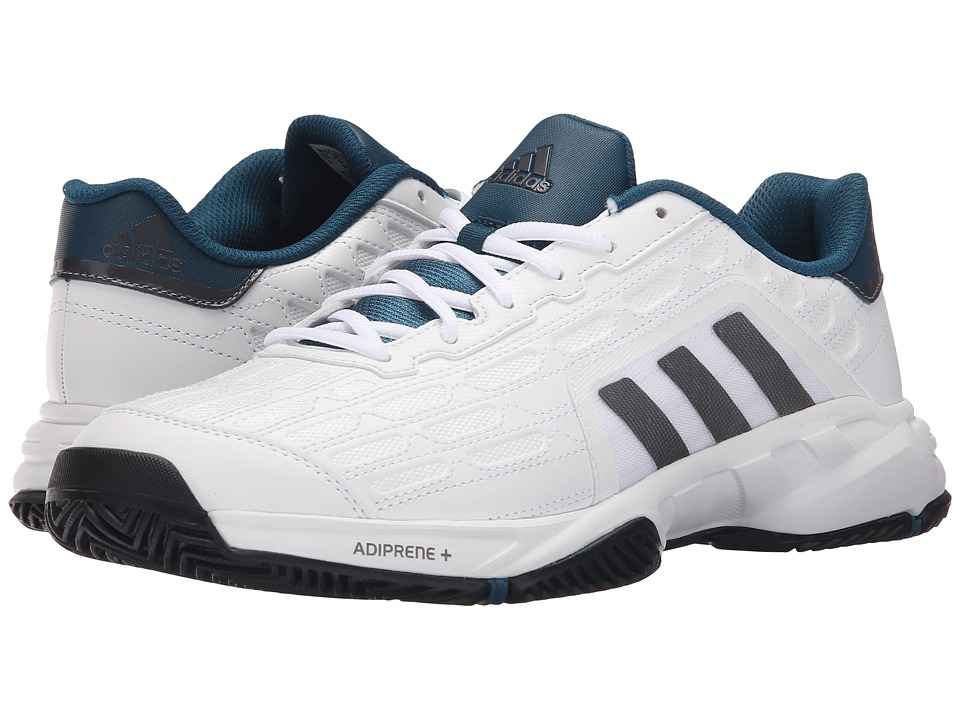 adidas - Barricade Court 2 Wide (White/Matte Silver/Black(Mesh)) Men's Tennis Shoes