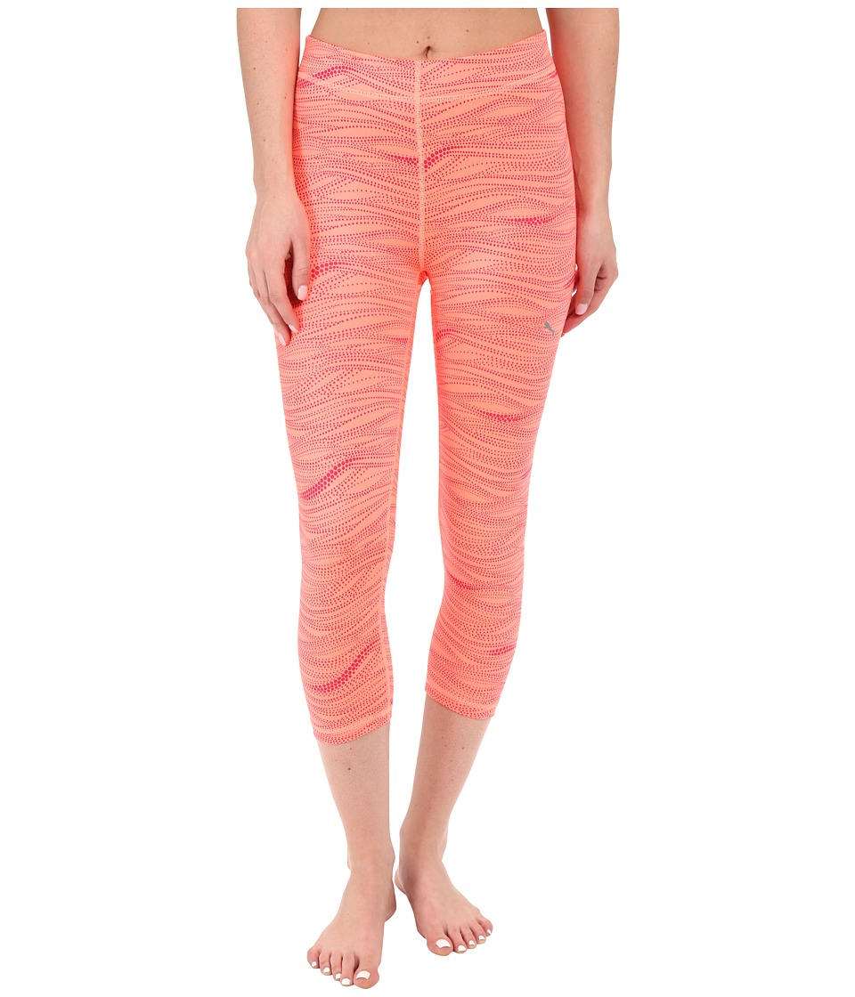 PUMA - All Eyes On Me 3/4 Tights (Fluro Peach/Rose Red) Women's Clothing