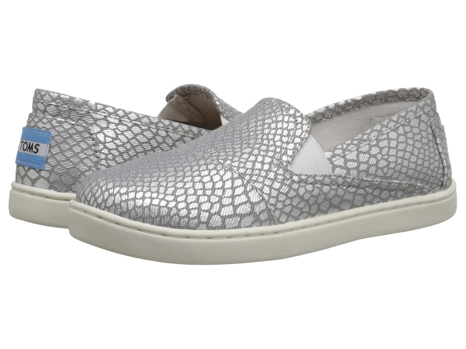 TOMS Kids - Avalon Sneaker (Little Kid/Big Kid) (Silver Metallic Printed Canvas) Kids Shoes