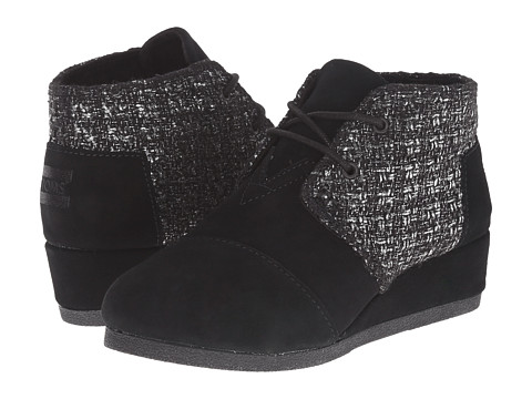 TOMS Kids - Desert Wedge Bootie (Little Kid/Big Kid) (Black Suede Metallic Boucle) Kids Shoes