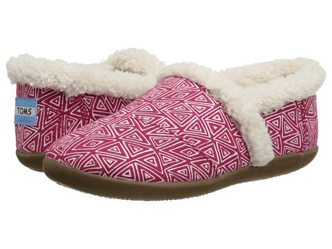 TOMS Kids - Slipper (Little Kid/Big Kid) (Pink Felt Tribal) Kids Shoes