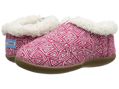 TOMS Kids - Slipper (Infant/Toddler/Little Kid) (Pink Felt Tribal) Kids Shoes