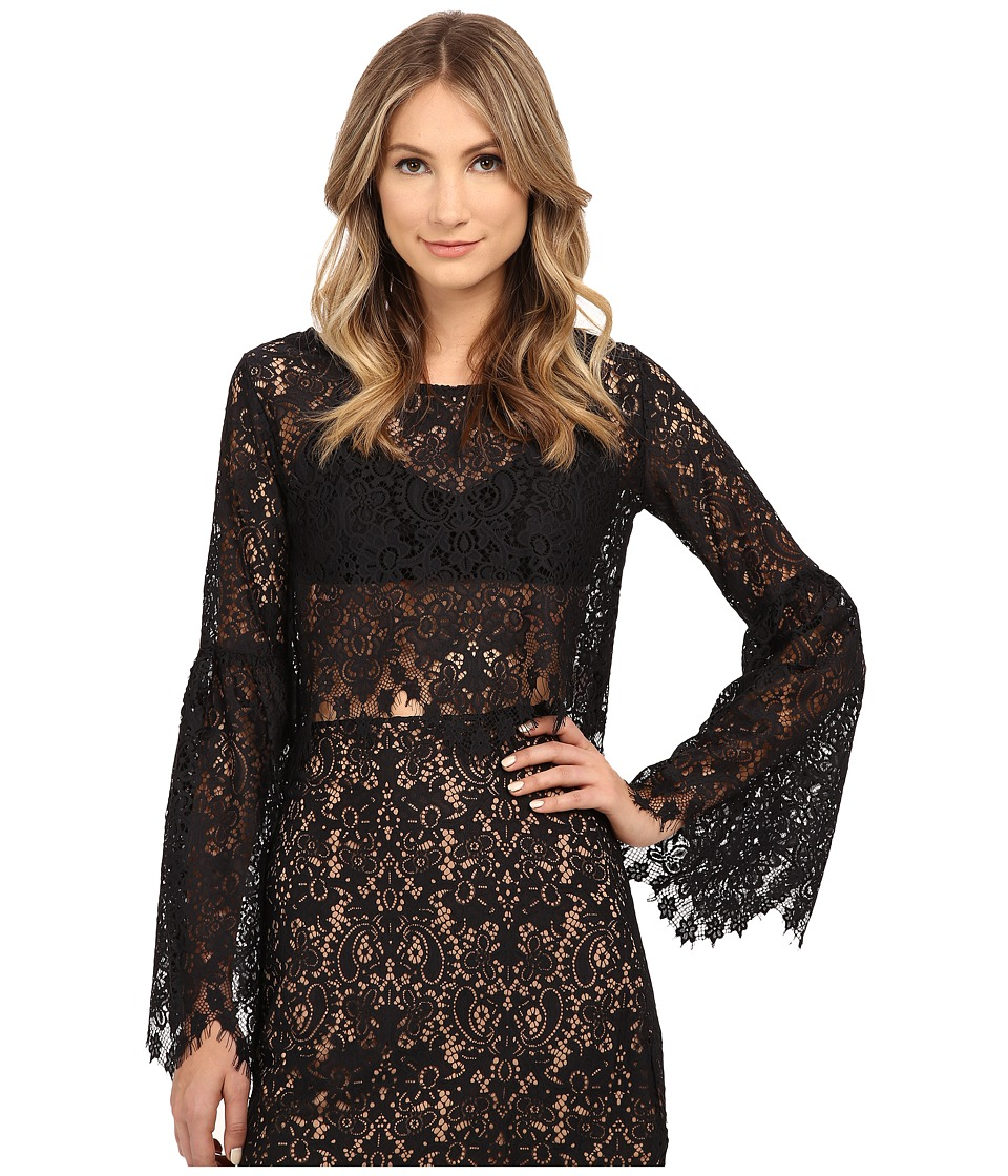 For Love and Lemons - Vika Crop Top (Black) Women's Blouse