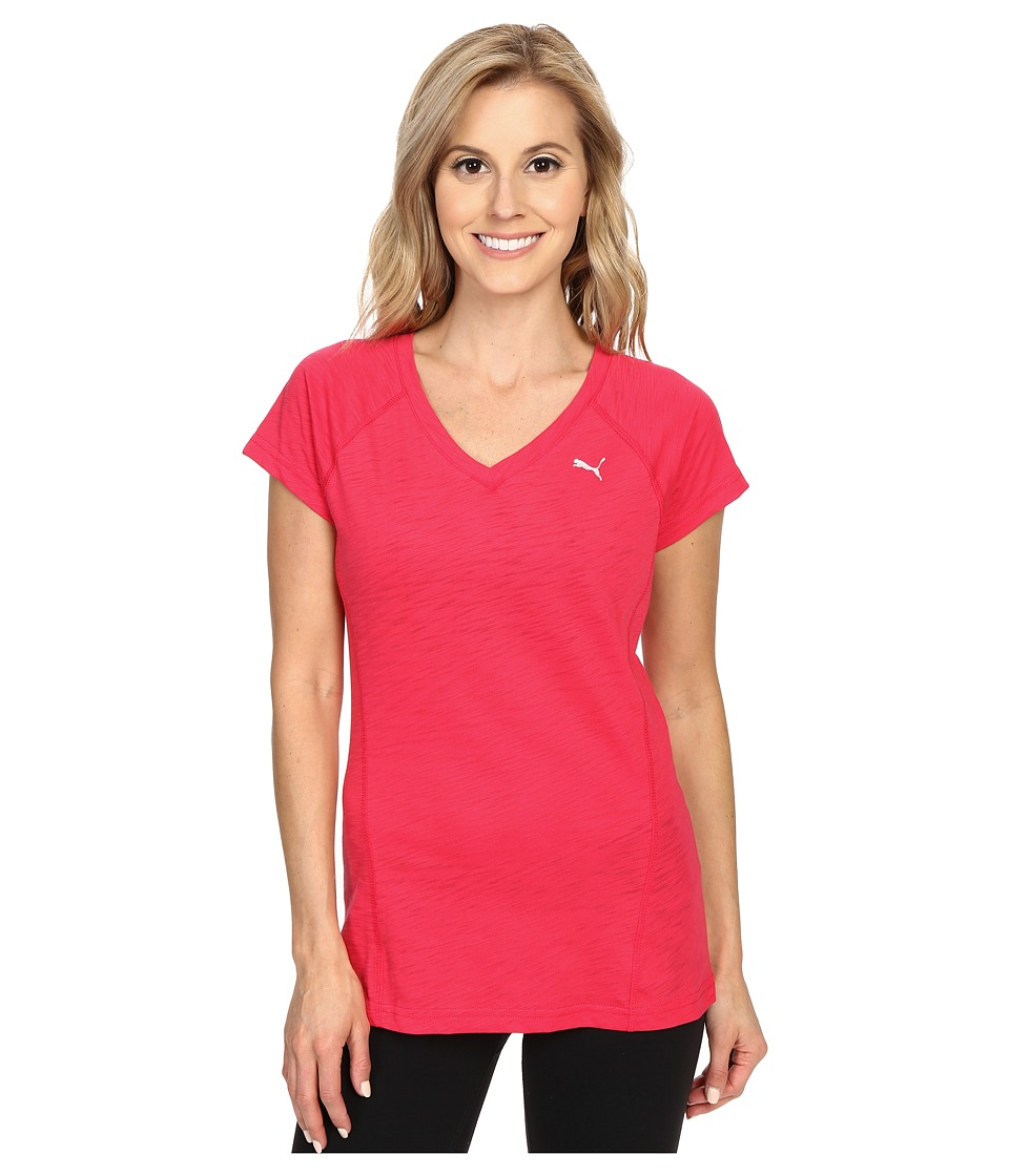 PUMA - V-Neck Multi Tee (Rose Red) Women's T Shirt