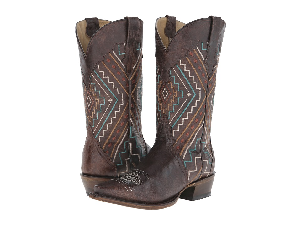 Roper - Southwest Snip (Brown) Cowboy Boots
