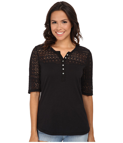 Dylan by True Grit - Navajo Lace and Soft Slub Baja Blouse (Navajo Black) Women