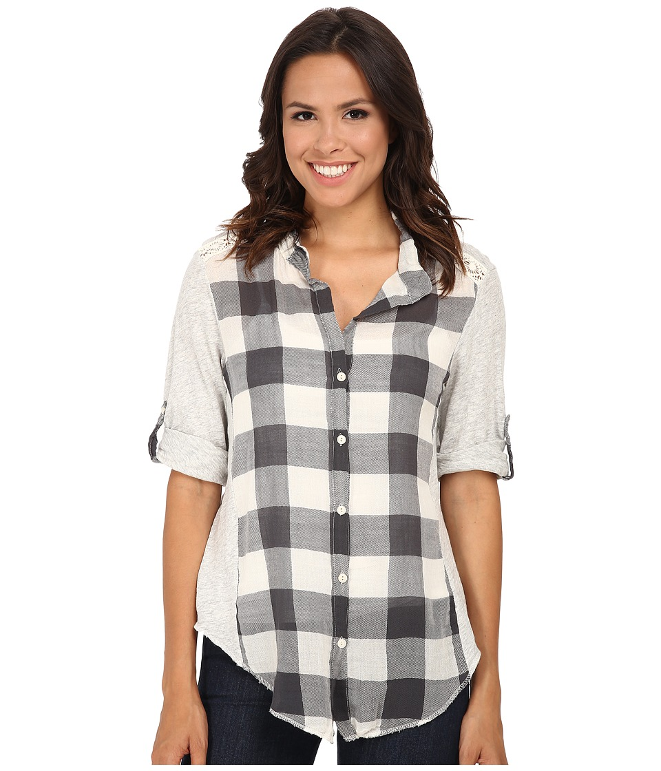Dylan by True Grit - Vintage Buffalo Check Roll Sleeve Blouse (Chalk) Women's Blouse