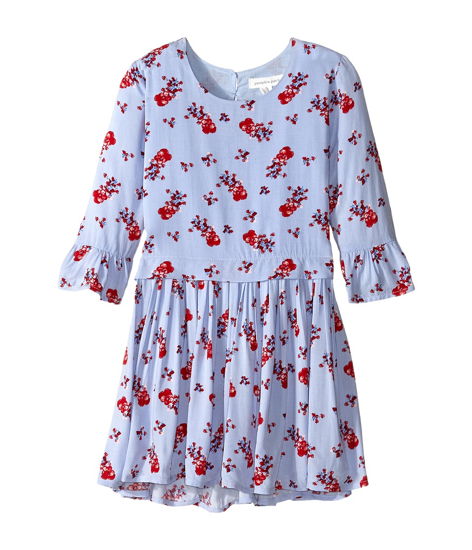 Pumpkin Patch Kids - Urban Folk Drop Waist Floral Dress (Little Kids/Big Kids) (Dream Blue) Girl's Dress