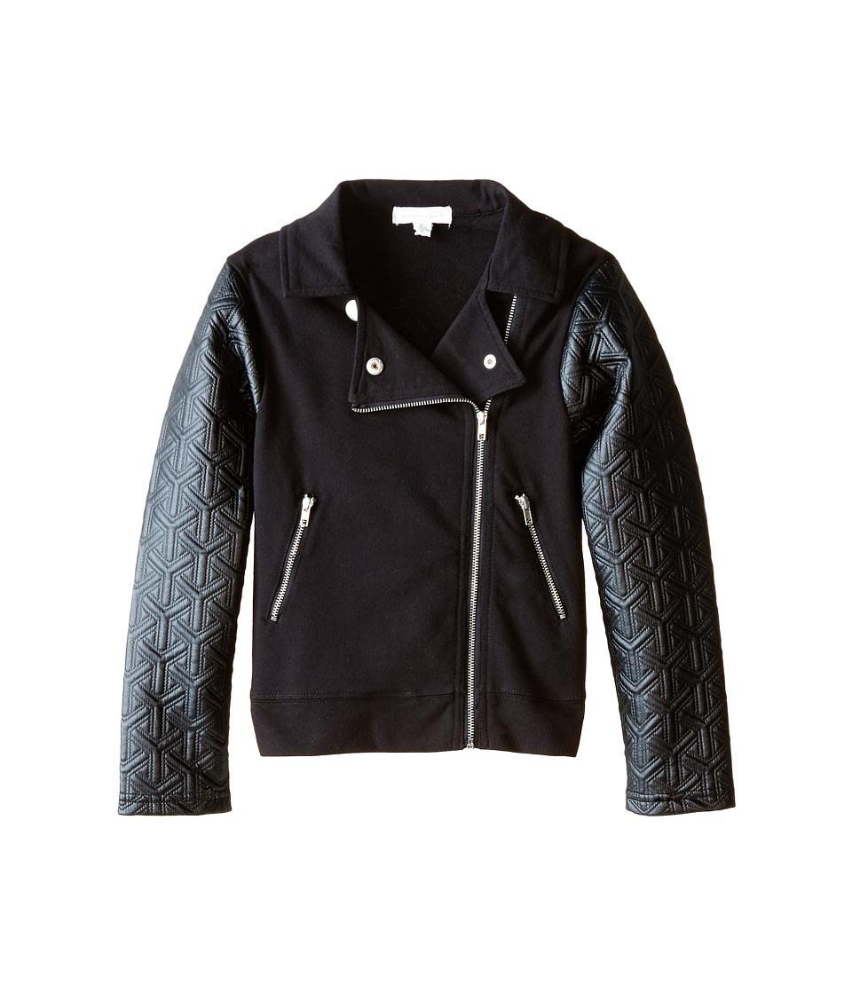 Pumpkin Patch Kids - Dance Academy Quilted Sleeve Biker Jacket (Little Kids/Big Kids) (Black Ink) Girl's Coat