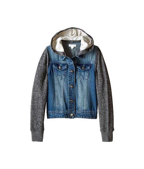 Pumpkin Patch Kids - Urban Folk W/S Hooded Denim Jacket (Little Kids/Big Kids) (Denim) Girl