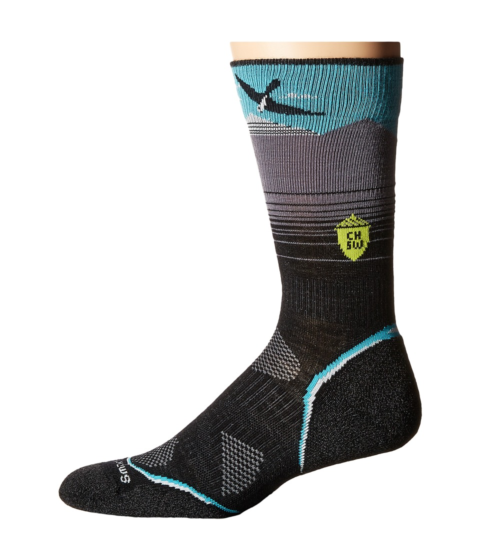 Smartwool - PhD Outdoor Light Crew: Charley Harper National Park Poster Bird on a Mountain (Black) Men's Crew Cut Socks Shoes
