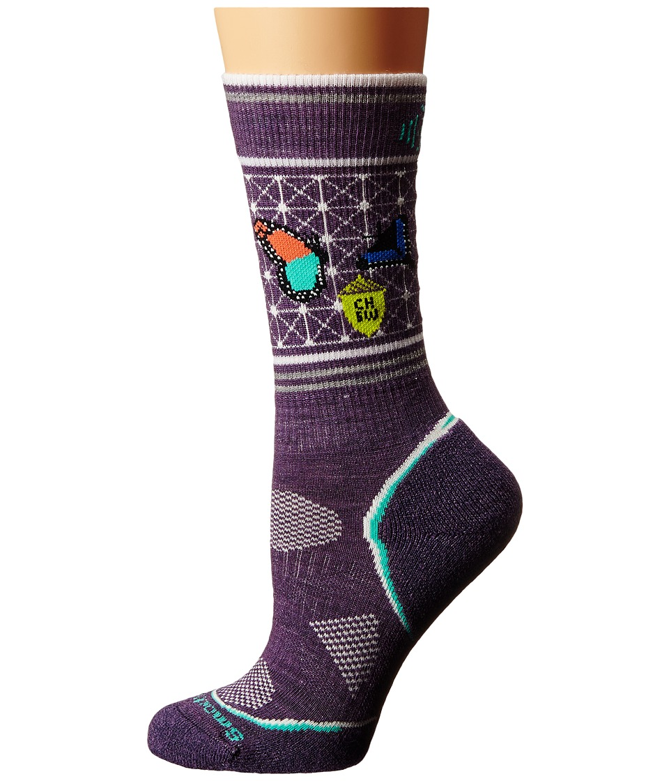 Smartwool - PhD Outdoor Light Crew: Charley Harper National Park Poster Butterfly (Desert Purple) Women's Crew Cut Socks Shoes