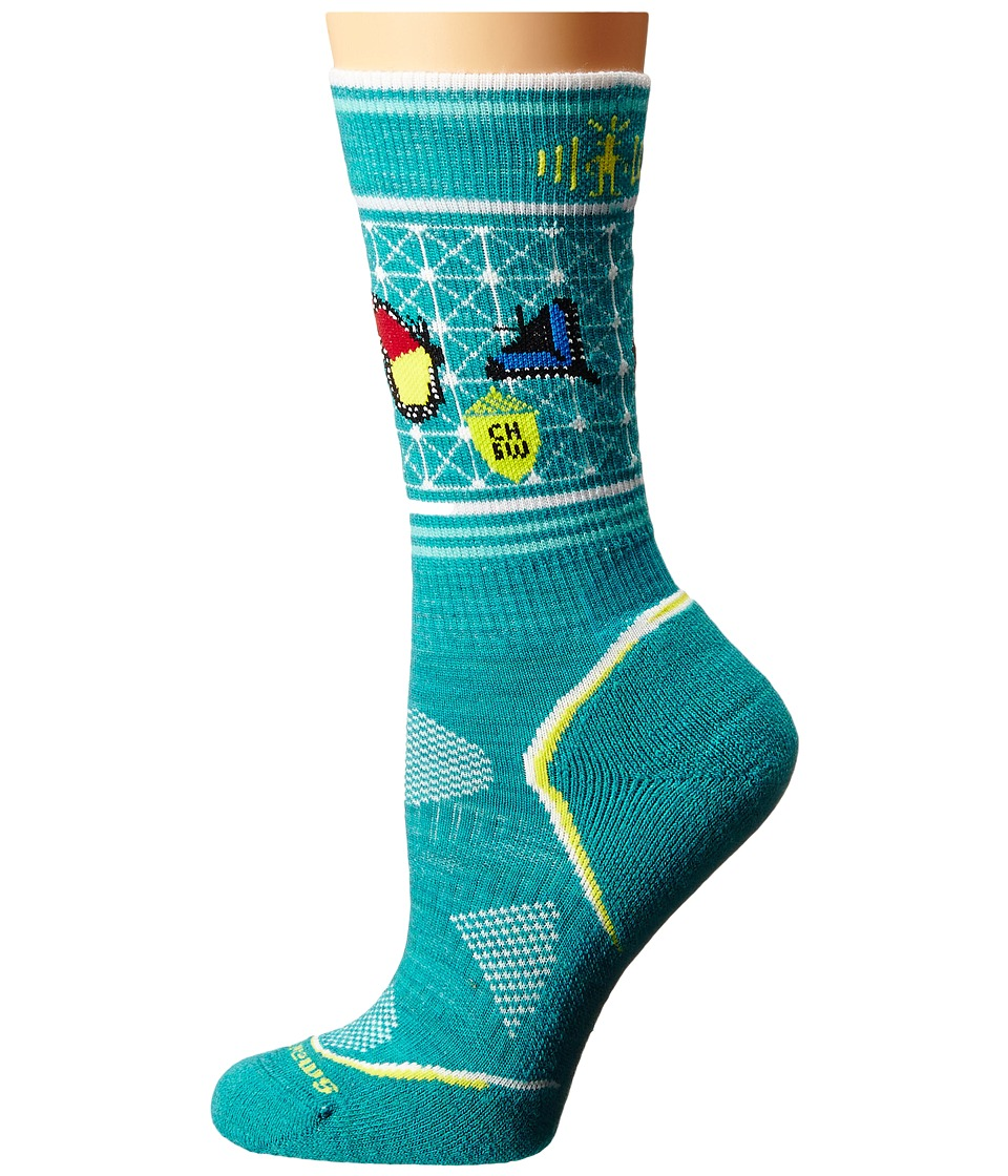 Smartwool - PhD Outdoor Light Crew: Charley Harper National Park Poster Butterfly (Capri) Women's Crew Cut Socks Shoes