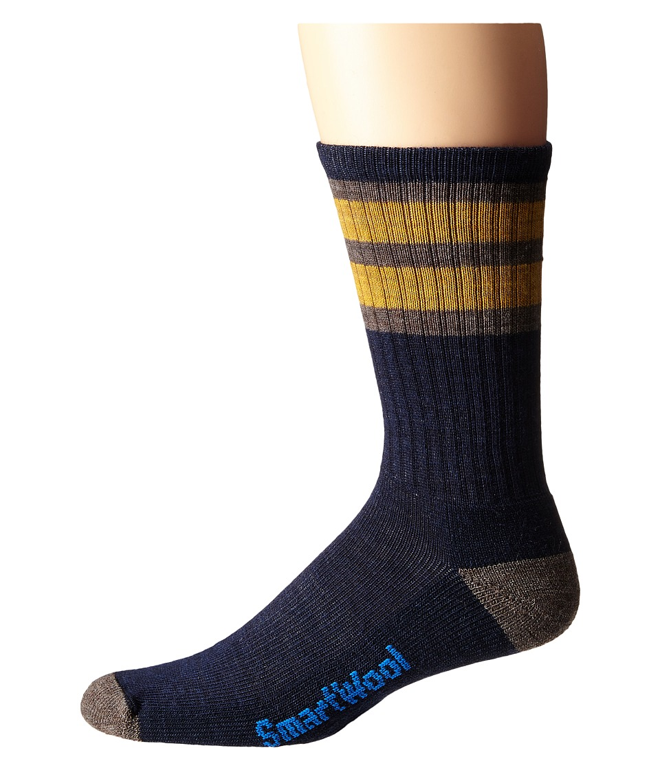 Smartwool - Striped Hike Light Crew (Navy/Sunglow) Men's Crew Cut Socks Shoes
