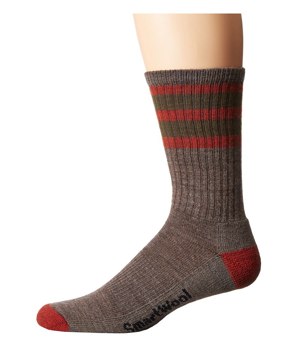 Smartwool - Striped Hike Light Crew (Taupe/Moab Rust) Men's Crew Cut Socks Shoes