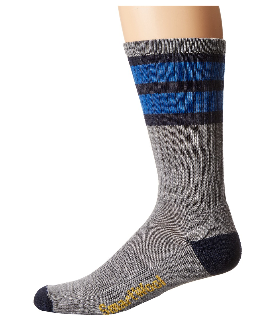 Smartwool - Striped Hike Light Crew (Light Gray/Navy) Men's Crew Cut Socks Shoes