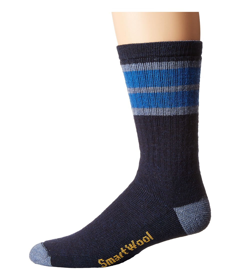 Smartwool - Striped Hike Medium Crew (Navy/Bright Blue) Men's Crew Cut Socks Shoes