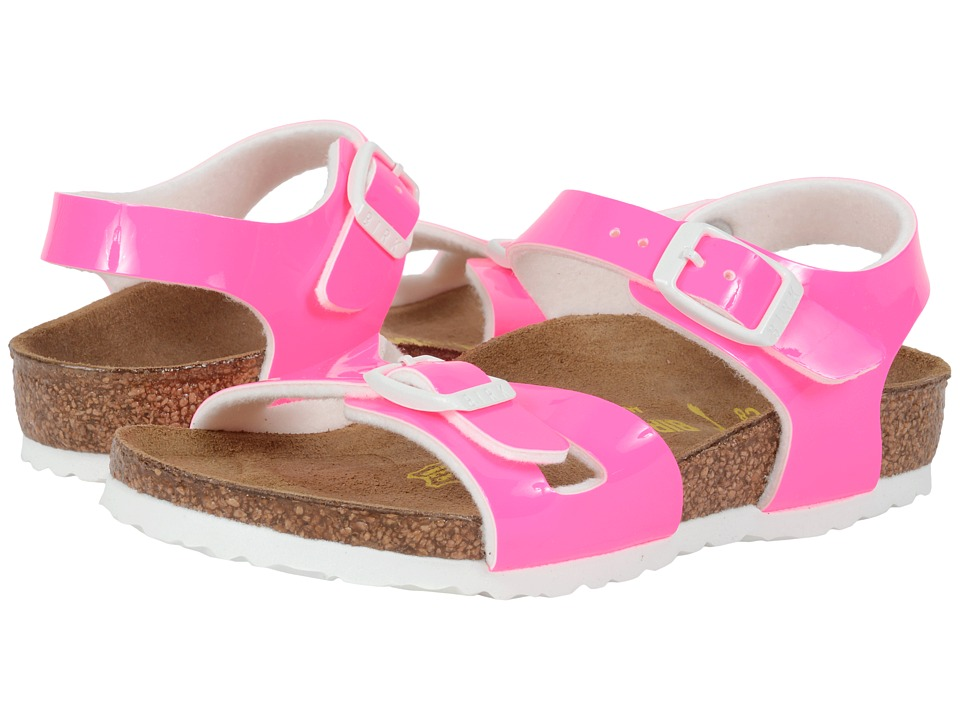 Birkenstock Kids - Rio (Toddler/Little Kid/Big Kid) (Neon Pink Patent Birko-Flor ) Girls Shoes