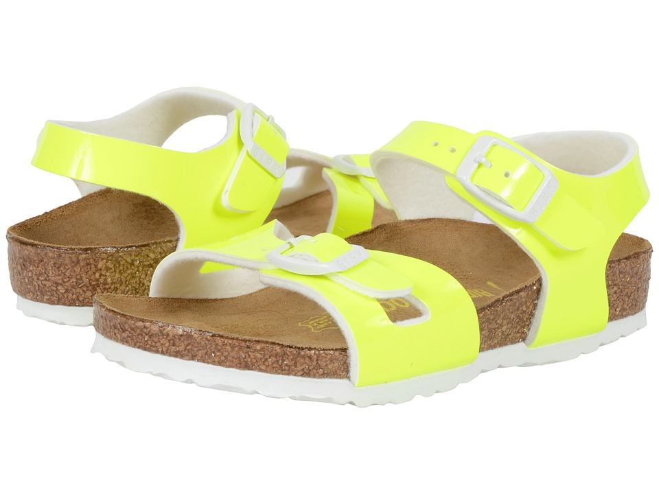 Birkenstock Kids - Rio (Toddler/Little Kid/Big Kid) (Neon Yellow Patent Birko-Flor ) Girls Shoes