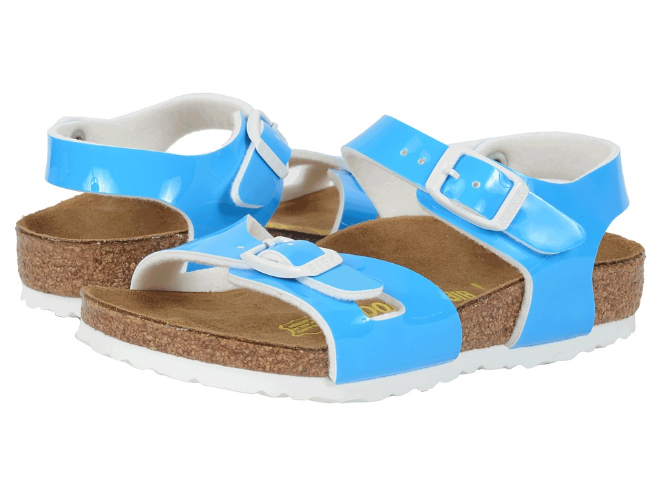 Birkenstock Kids - Rio (Toddler/Little Kid/Big Kid) (Neon Blue Patent Birko-Flor ) Girls Shoes