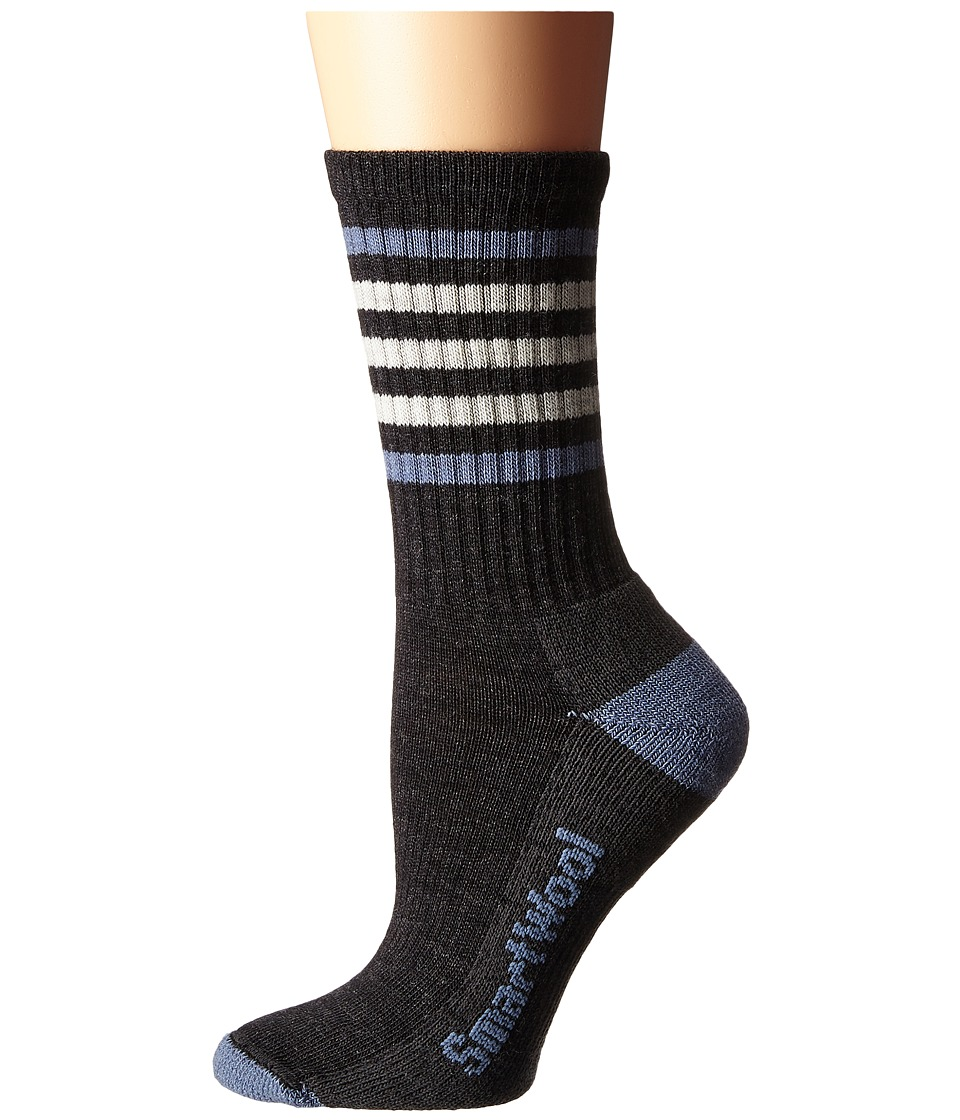 Smartwool - Striped Hike Light Crew (Charcoal/Blue Steel) Women's Crew Cut Socks Shoes