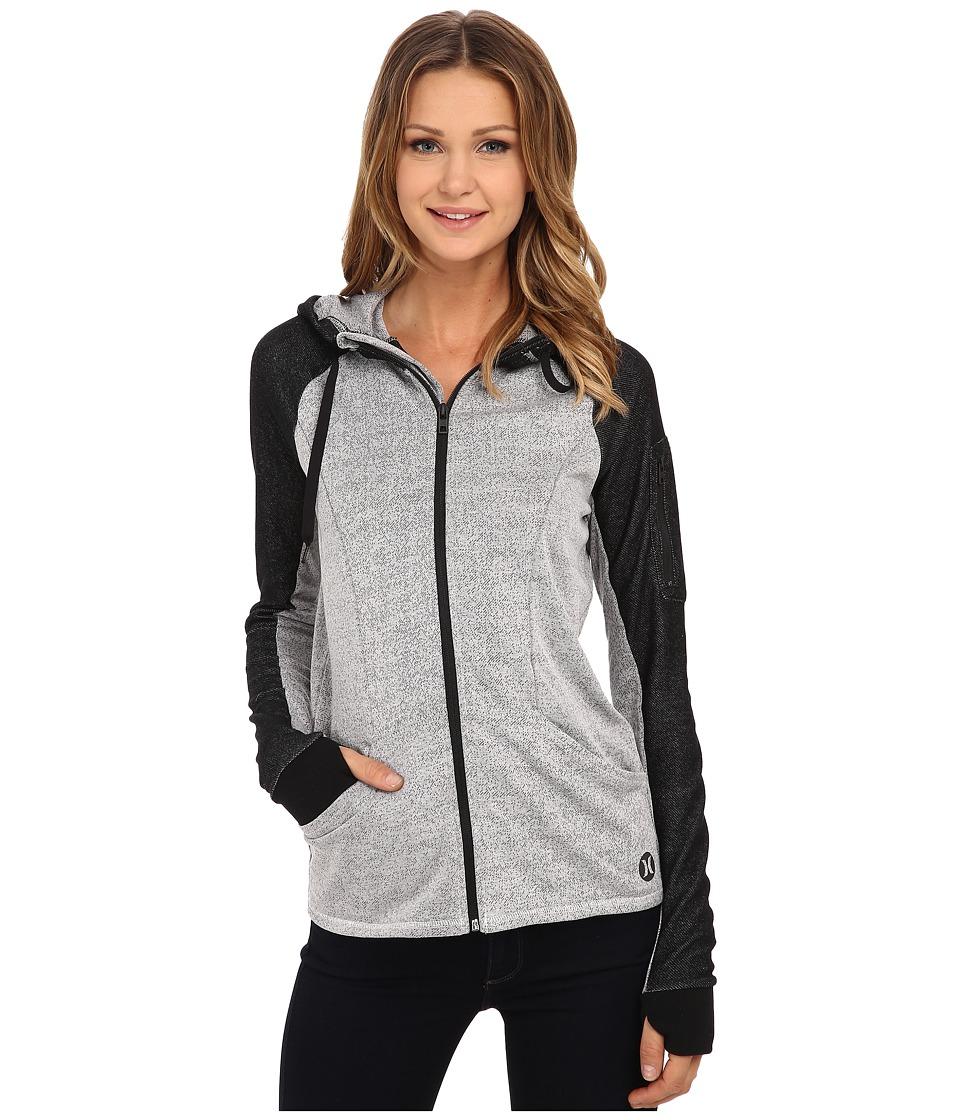 Hurley - Dri-Fit Fleece Zip Up Hoodie (Heather White) Women's Sweatshirt