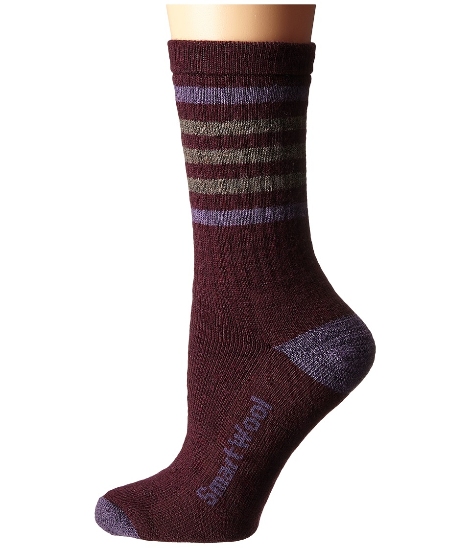Smartwool - Striped Hike Medium Crew (Aubergine) Women's Crew Cut Socks Shoes