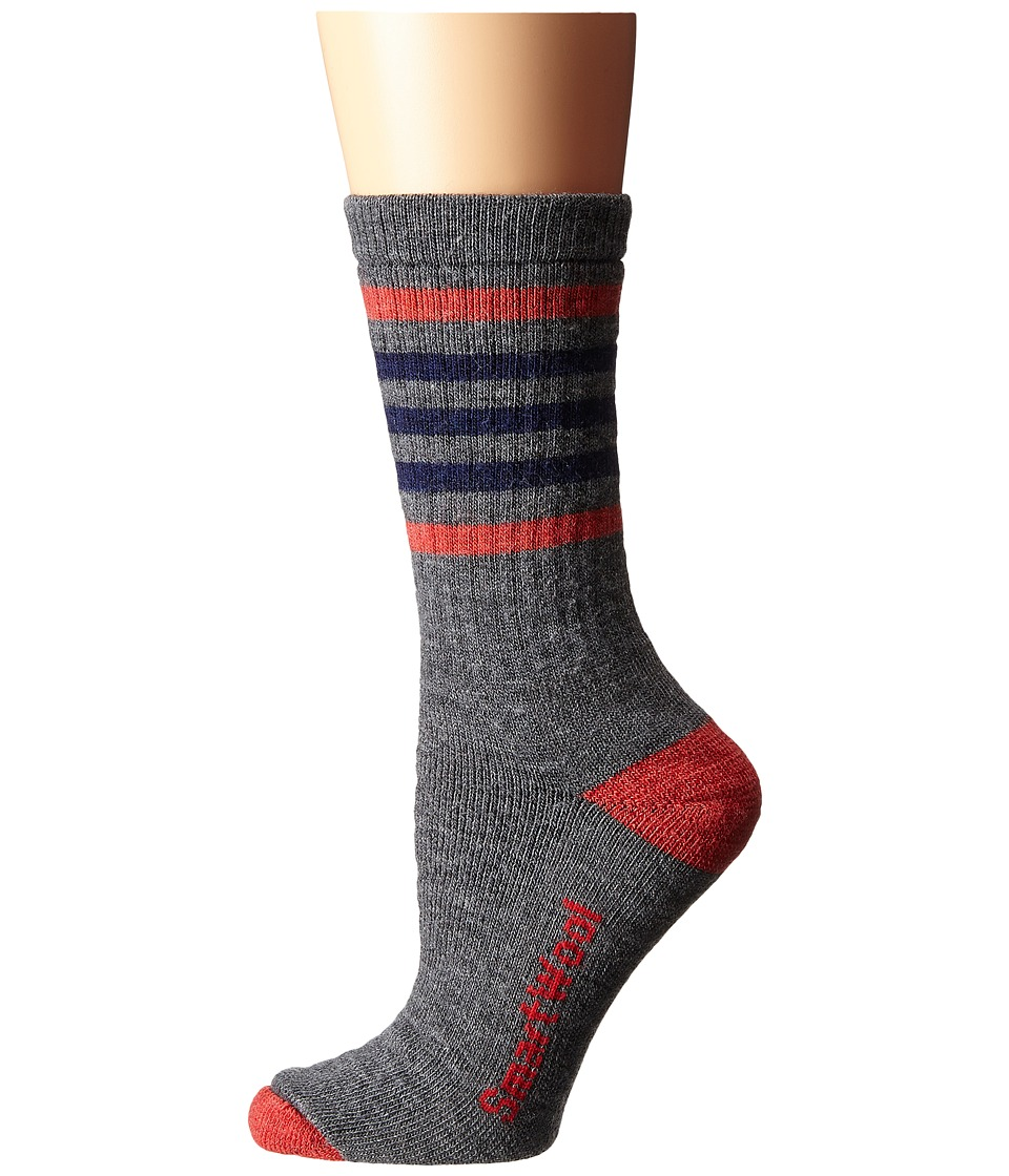Smartwool - Striped Hike Medium Crew (Medium Gray/Hibiscus) Women's Crew Cut Socks Shoes