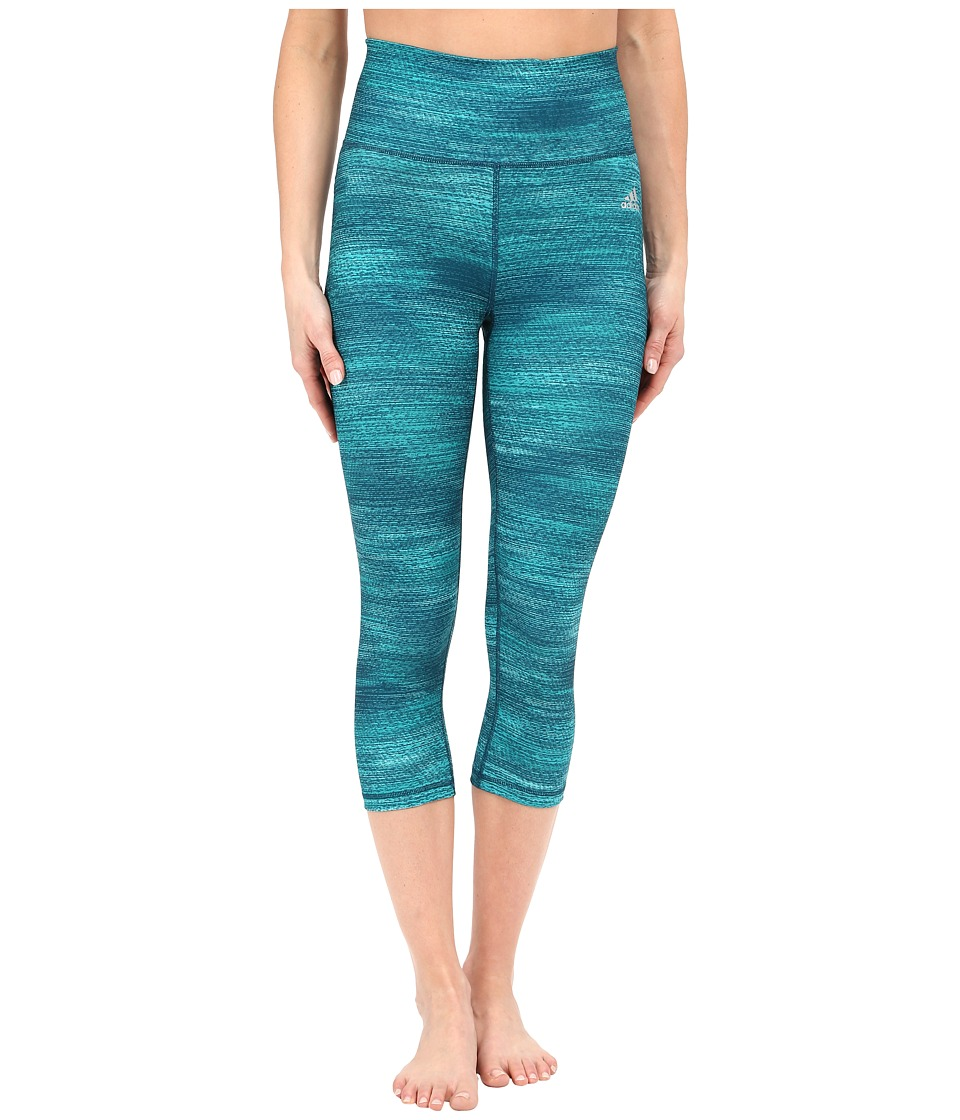adidas - Performer High Rise 3/4 Tights w/ Macro Heather Print (EQT Green Heather/Matte Silver) Women's Casual Pants
