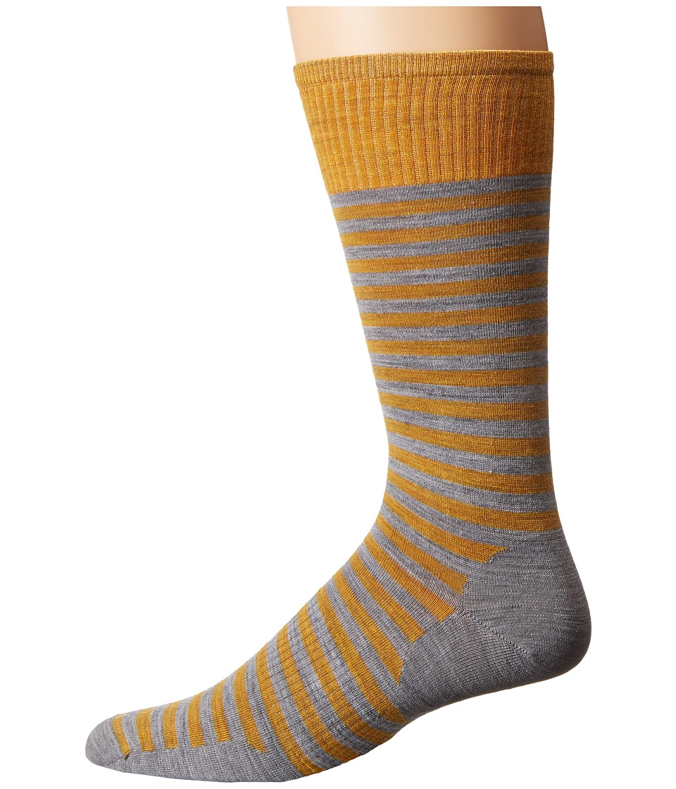Smartwool - Stria Crew (Light Gray Heather) Men's Crew Cut Socks Shoes