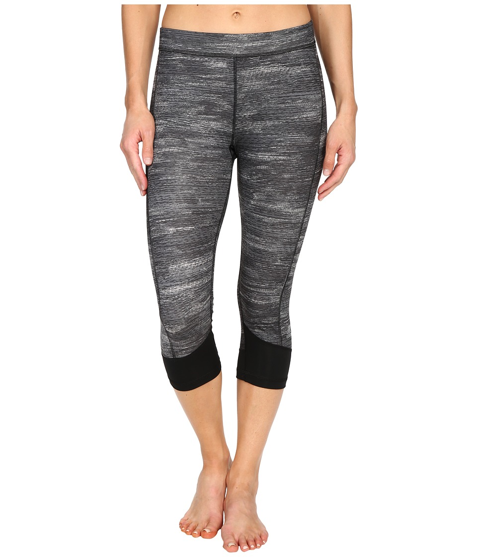 adidas - Techfit Capris w/ Macro Heather Print (Dark Grey Heather/Black/Matte Silver) Women's Workout