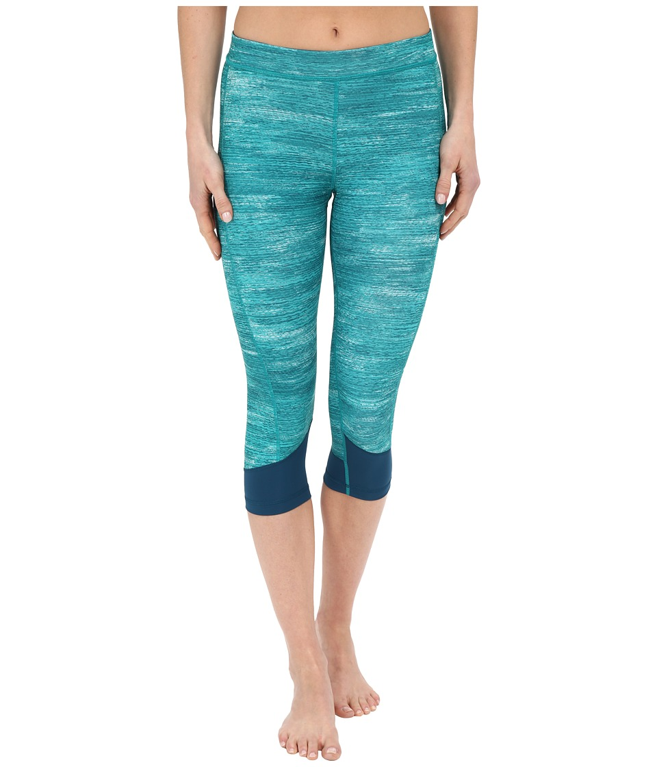 adidas - Techfit Capris w/ Macro Heather Print (EQT Green Heather/Mineral/Matte Silver) Women's Workout