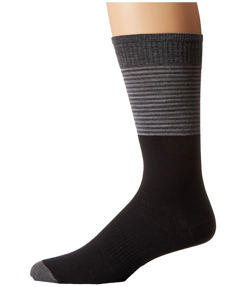 Smartwool - Tailored Stripe Crew (Black) Men's Crew Cut Socks Shoes