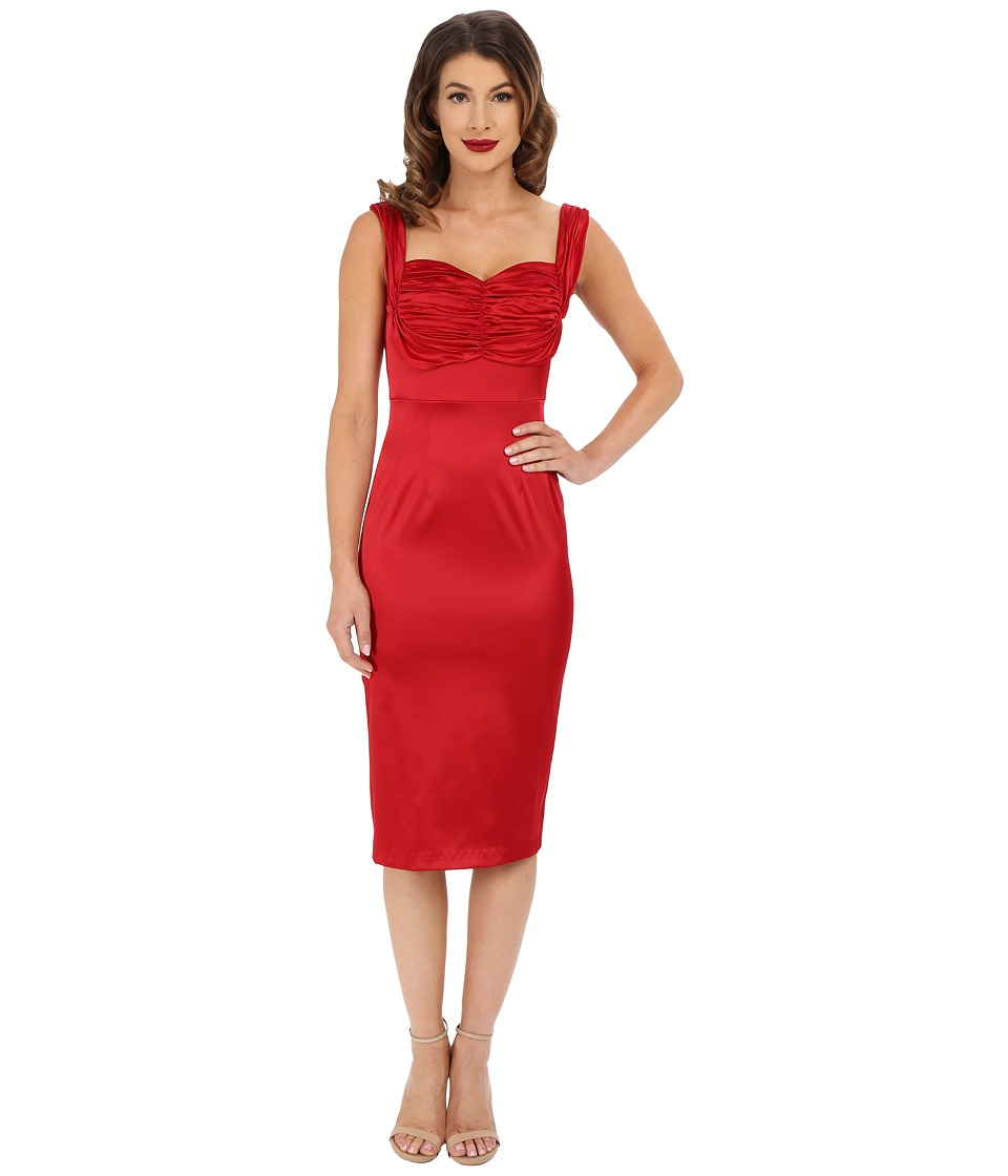 Stop Staring! - Zoe Fitted Dress (Red Satin) Women's Dress