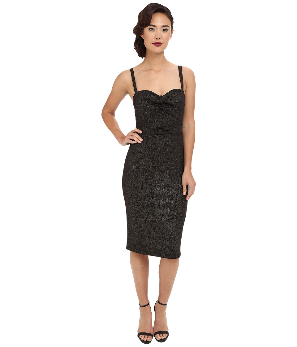 Stop Staring! - Larissa Fitted Dress (Black/Gold) Women's Dress