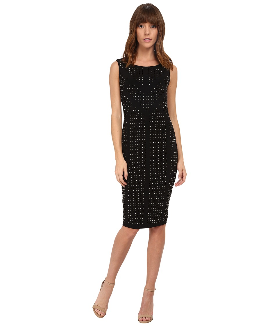Calvin Klein - Jersey Sheath Dress w/ Beading (Black) Women