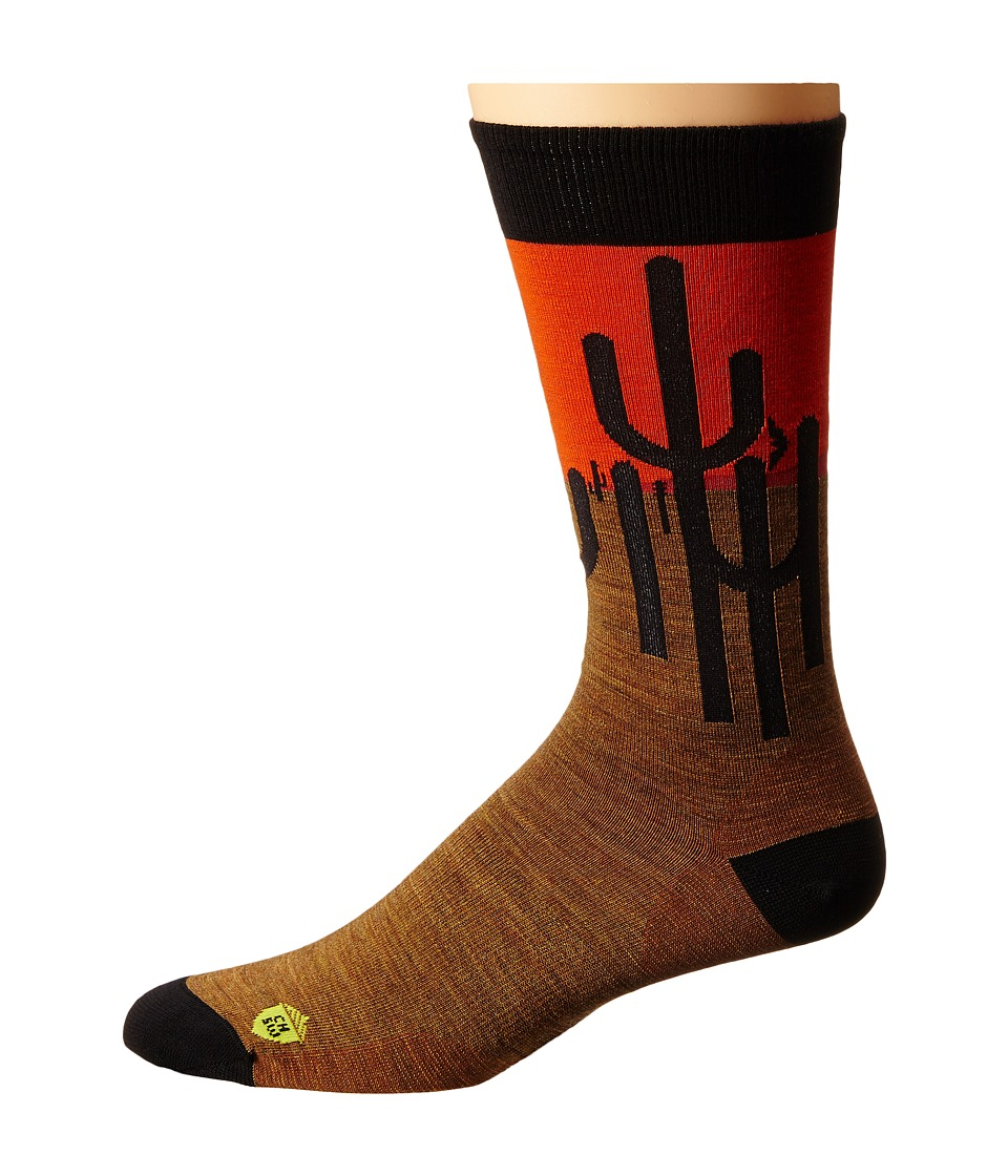 Smartwool - Charley Harper National Park Poster Horizon Cactus (Caramel Heather) Men's Crew Cut Socks Shoes