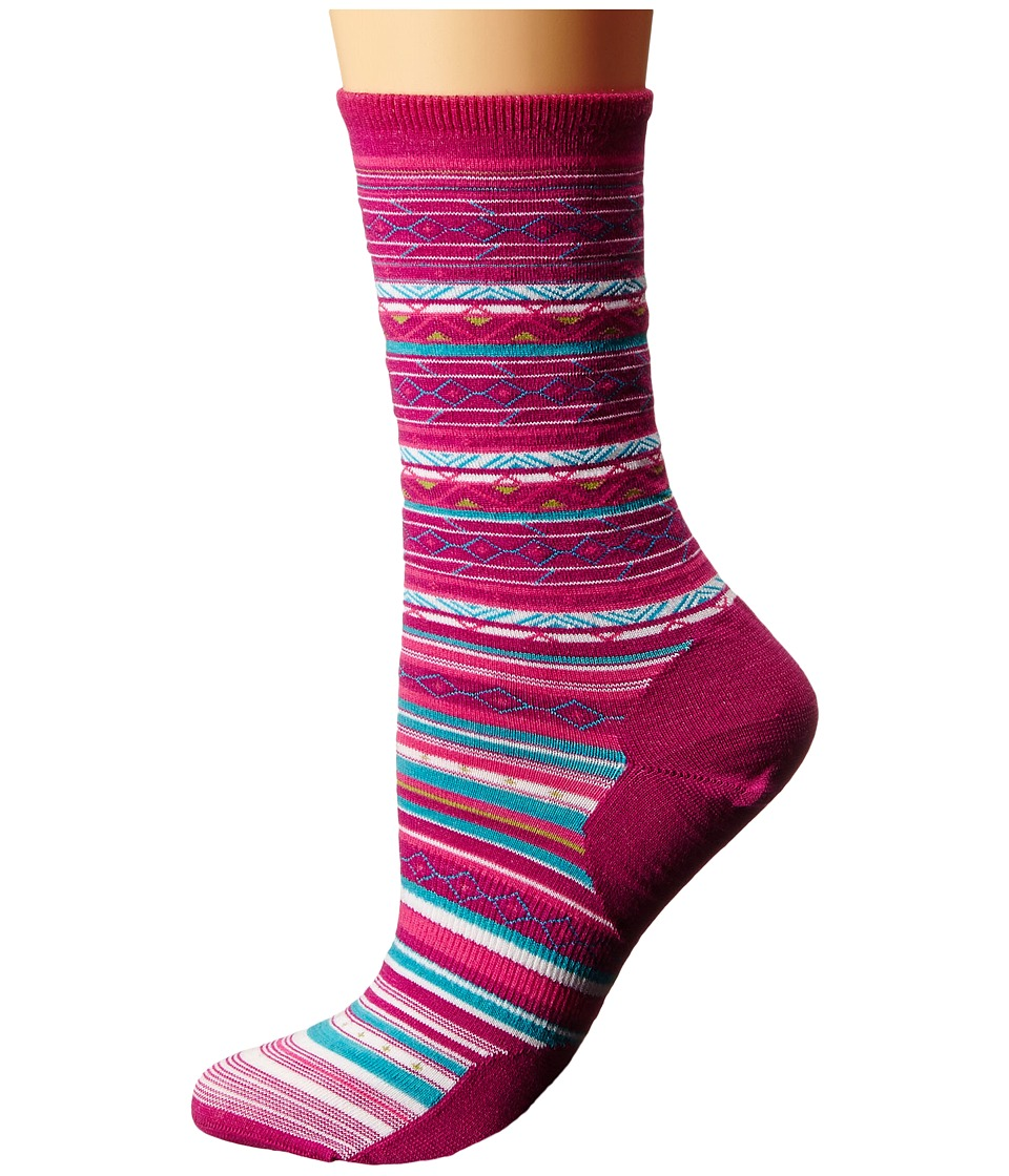 Smartwool - Ethno Graphic Crew (Berry) Women's Crew Cut Socks Shoes