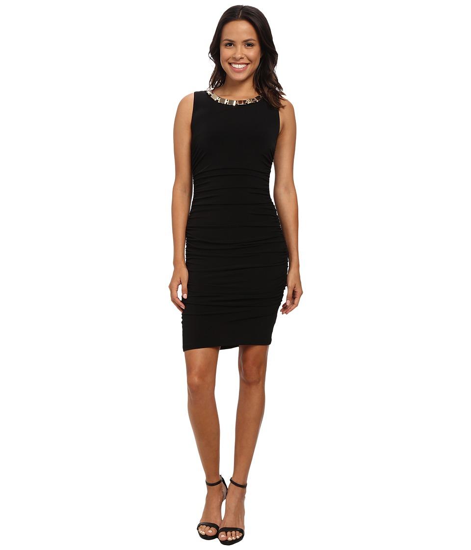 Calvin Klein - Ruched Jersey Dress w/ Hardware at Neckline (Black) Women